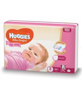 HUGGIES ULTRA  CONFORT GIRL 3 (80) 5-9KG