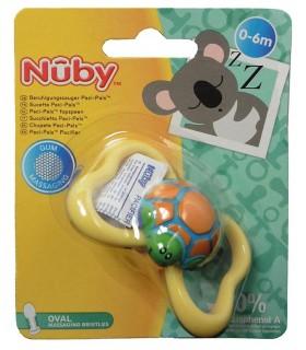 Nuby – Suzeta Paci-Pals™ cu tetina ovala si cu striatii pentru masajul gingiilor