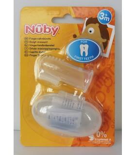 Nuby™ degetar din silicon si cutie pentru depozitare 3+
