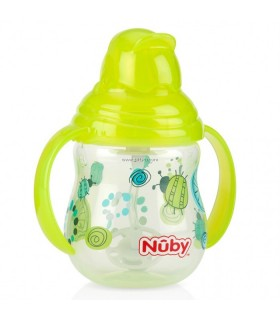Nuby Pahar cu pai si manere Flip-it / Click - Lock / 360 * Straw 270 ml +12