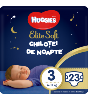 Huggies - Elite Soft - Chilotei de noapte Nr.3 (6-11kg), 23 buc.