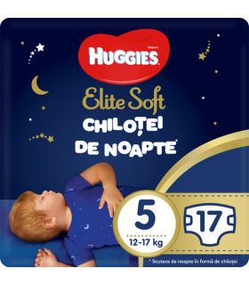 Huggies - Elite Soft - Chilotei de noapte Nr.5 (12-17kg), 17 buc.