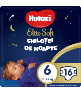 Huggies - Elite Soft - Chilotei de noapte Nr.6 (15-25kg), 16 buc.
