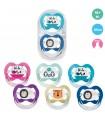 Baby Nova - Suzete ortodontice decorate, multicolore, cu inel + cutie de sterilizare, 18+